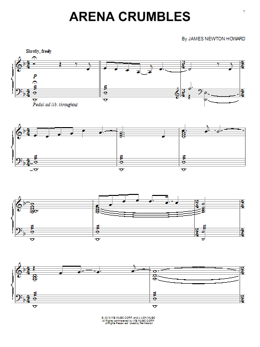 Download James Newton Howard 'Arena Crumbles' Digital Sheet Music Notes & Chords and start playing in minutes