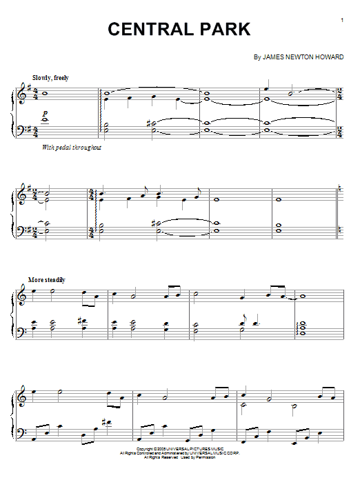 Download James Newton Howard 'Central Park (from King Kong)' Digital Sheet Music Notes & Chords and start playing in minutes