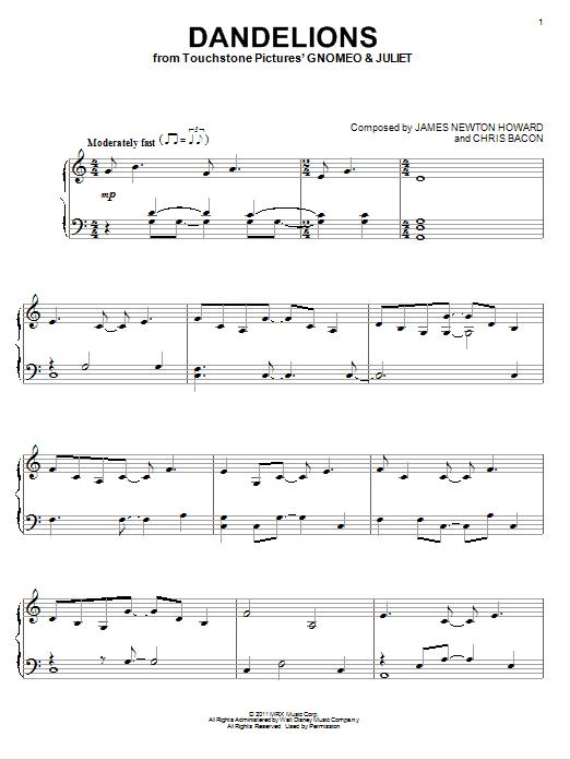 Download Elton John 'Dandelions' Digital Sheet Music Notes & Chords and start playing in minutes