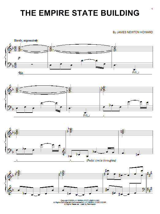 Download James Newton Howard 'The Empire State Building (from King Kong)' Digital Sheet Music Notes & Chords and start playing in minutes
