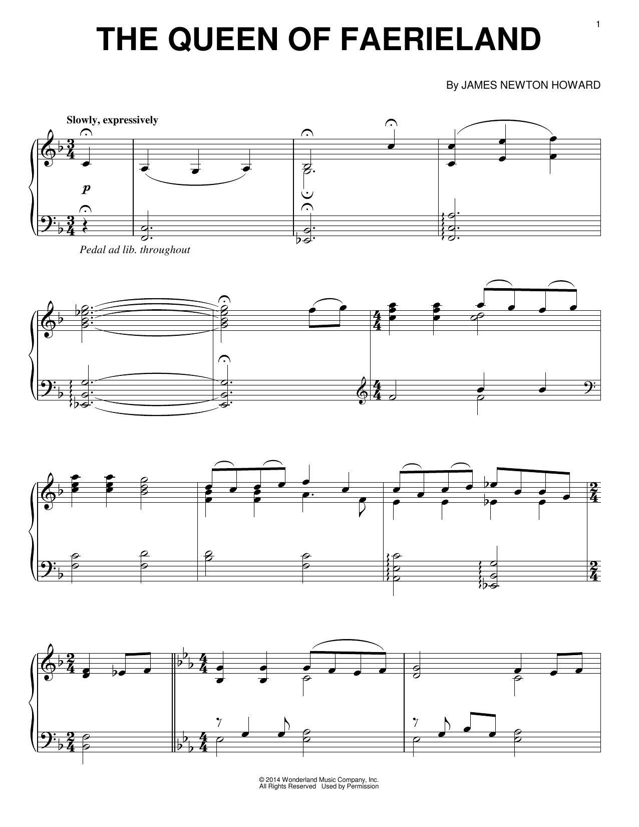 Download James Newton Howard 'The Queen Of Faerieland' Digital Sheet Music Notes & Chords and start playing in minutes