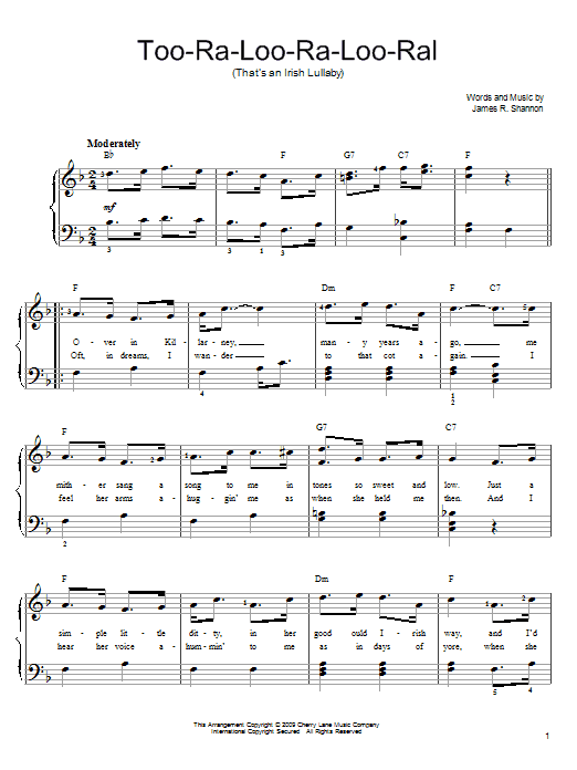 James R. Shannon Too-Ra-Loo-Ra-Loo-Ral (That's An Irish Lullaby) sheet music preview music notes and score for Piano, Vocal & Guitar (Right-Hand Melody) including 2 page(s)