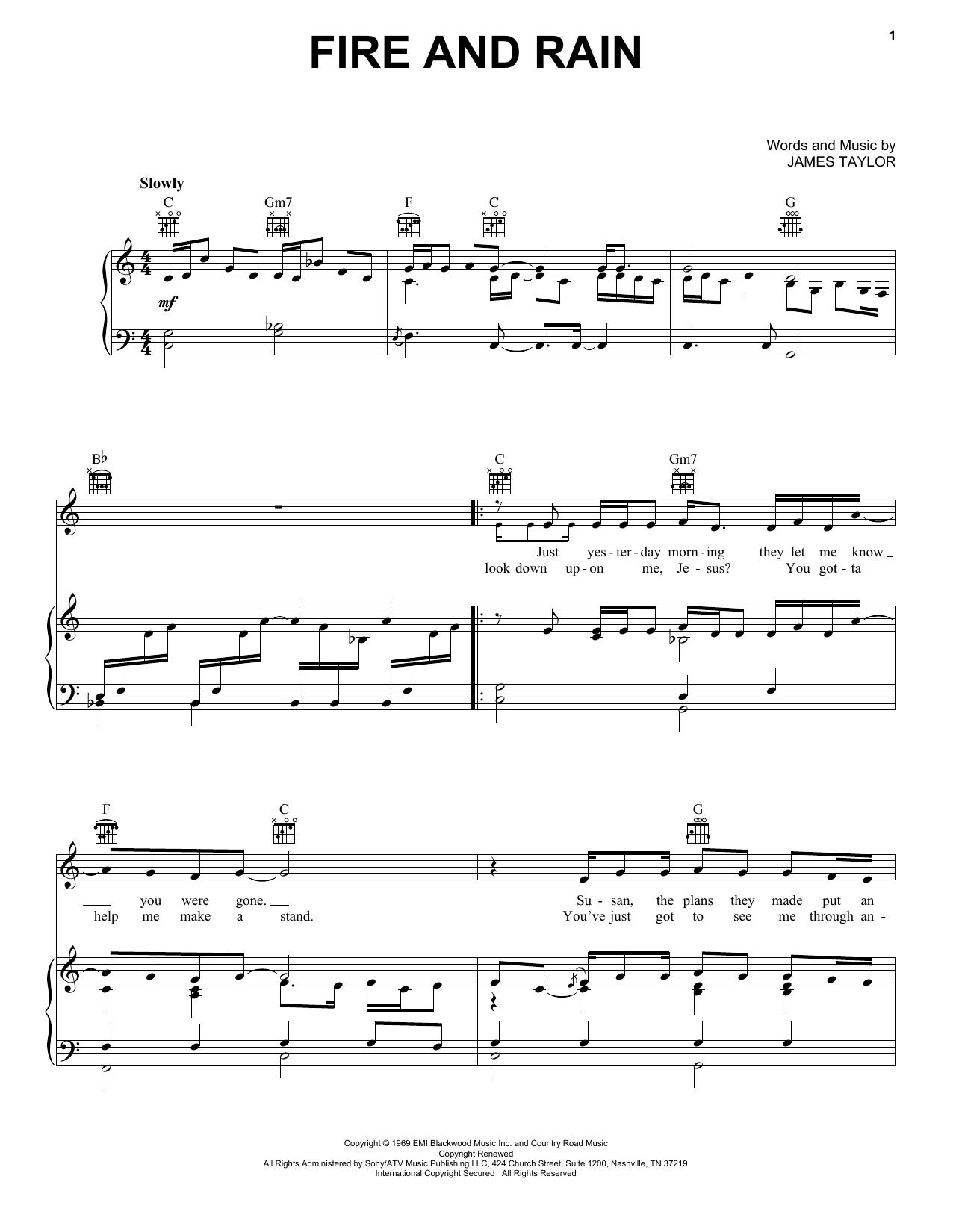 James Taylor Fire And Rain sheet music notes and chords