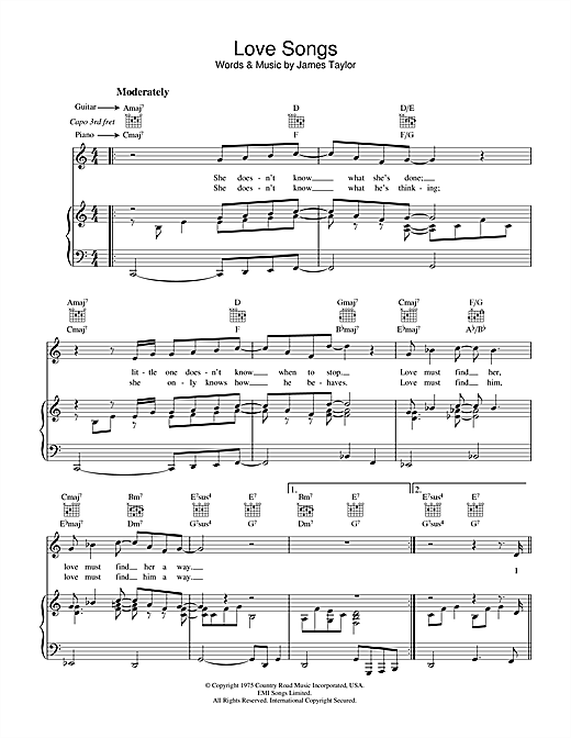 James Taylor Love Songs sheet music notes and chords