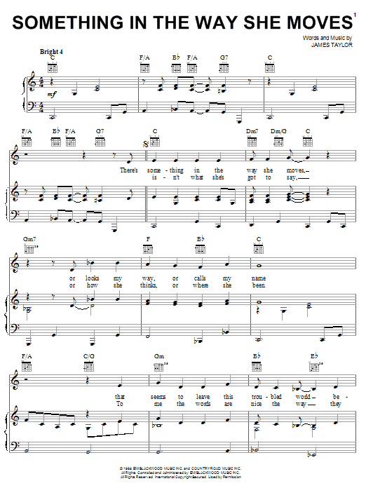 James Taylor Something In The Way She Moves sheet music notes and chords