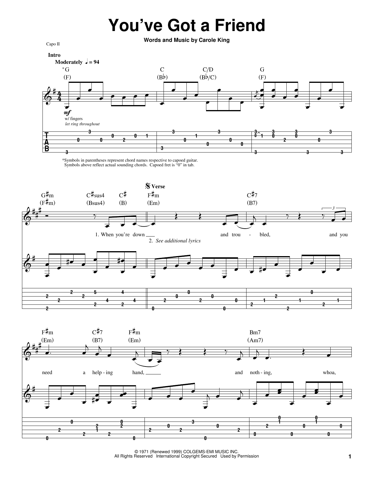 James Taylor You've Got A Friend sheet music preview music notes and score for Guitar Tab including 10 page(s)