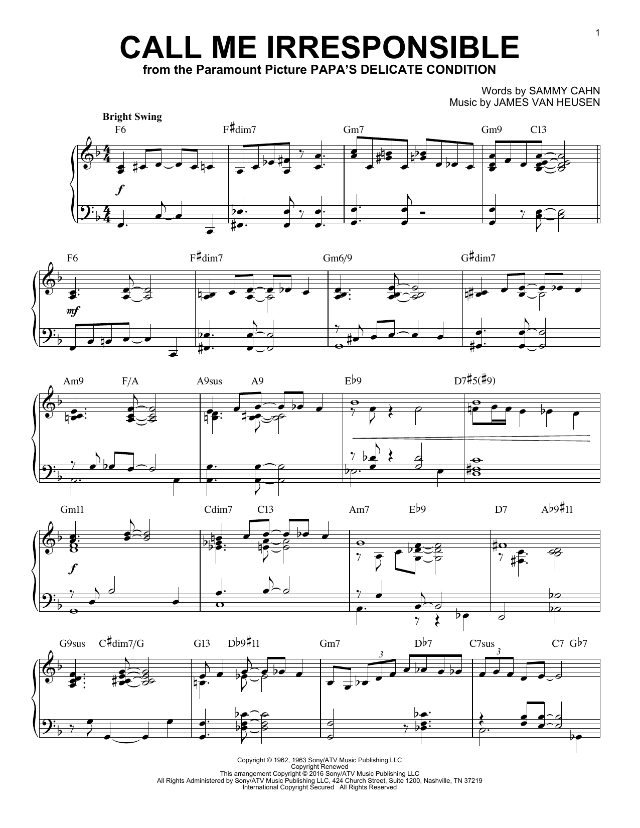Download James Van Heusen 'Call Me Irresponsible' Digital Sheet Music Notes & Chords and start playing in minutes