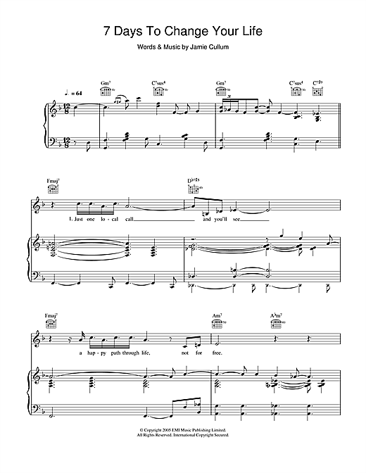 Download Jamie Cullum '7 Days To Change Your Life' Digital Sheet Music Notes & Chords and start playing in minutes