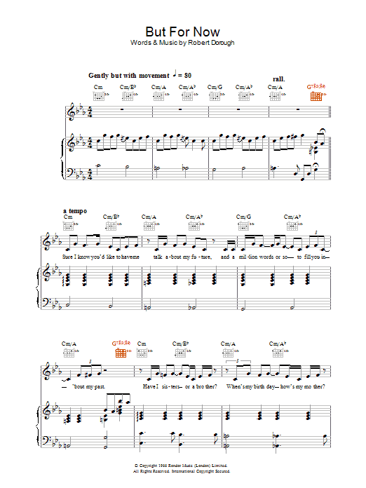 Jamie Cullum But For Now sheet music preview music notes and score for Piano, Vocal & Guitar (Right-Hand Melody) including 4 page(s)