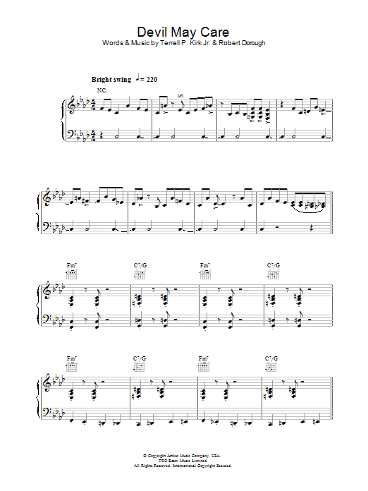 Jamie Cullum Devil May Care sheet music preview music notes and score for Piano, Vocal & Guitar (Right-Hand Melody) including 11 page(s)