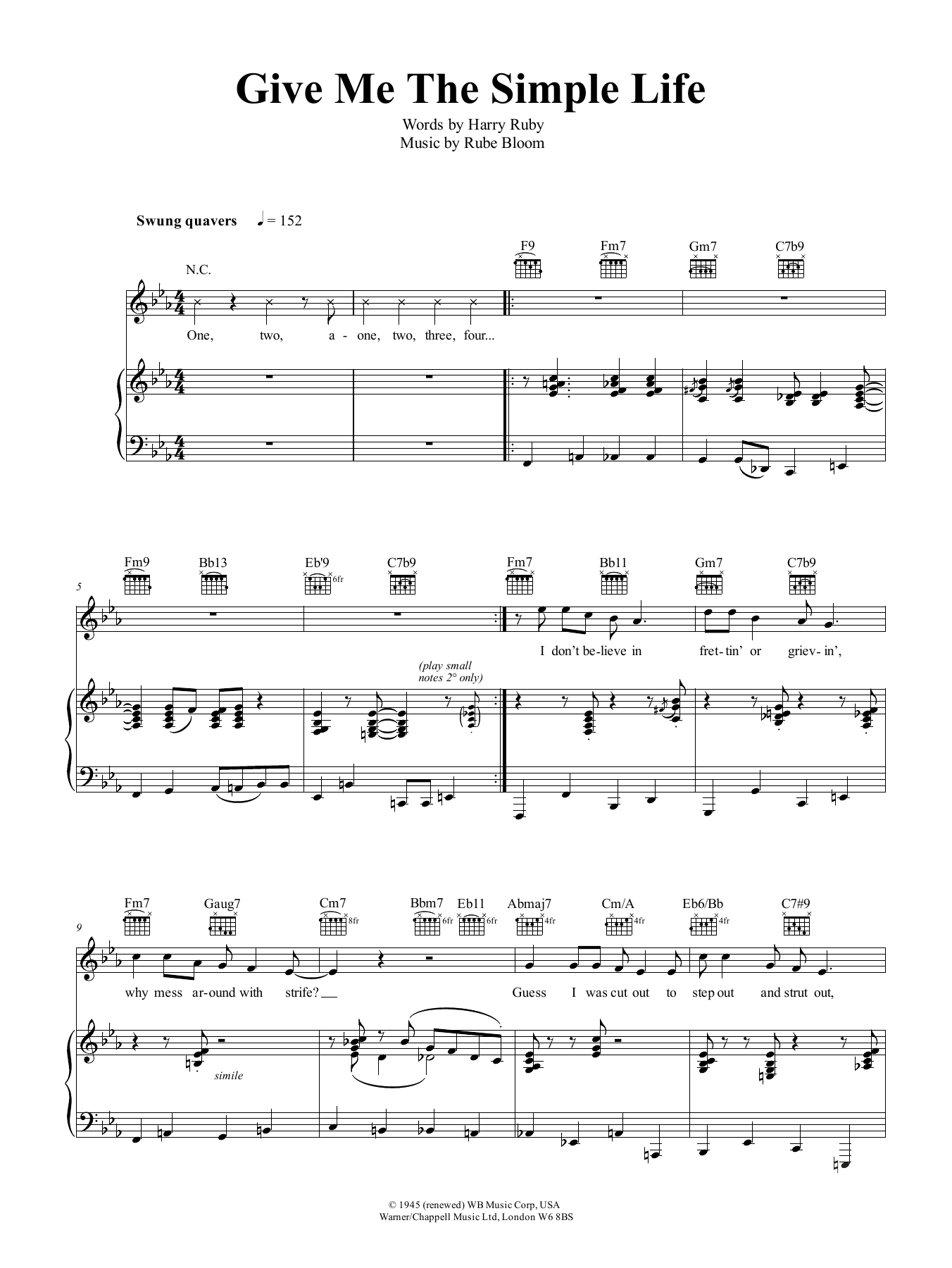 Jamie Cullum Give Me The Simple Life sheet music preview music notes and score for Piano, Vocal & Guitar (Right-Hand Melody) including 4 page(s)