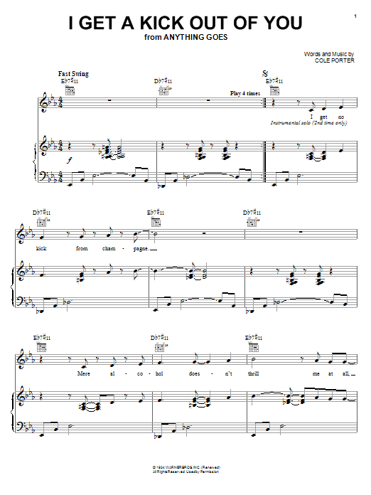 Jamie Cullum I Get A Kick Out Of You sheet music preview music notes and score for Piano, Vocal & Guitar (Right-Hand Melody) including 7 page(s)