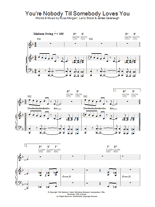 Jamie Cullum You're Nobody Till Somebody Loves You sheet music preview music notes and score for Piano, Vocal & Guitar including 9 page(s)