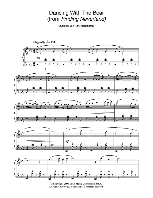 Download Jan A.P. Kaczmarek 'Dancing With The Bear (from Finding Neverland)' Digital Sheet Music Notes & Chords and start playing in minutes