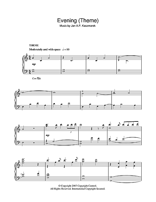 Download Jan A.P. Kaczmarek 'Evening (Theme)' Digital Sheet Music Notes & Chords and start playing in minutes