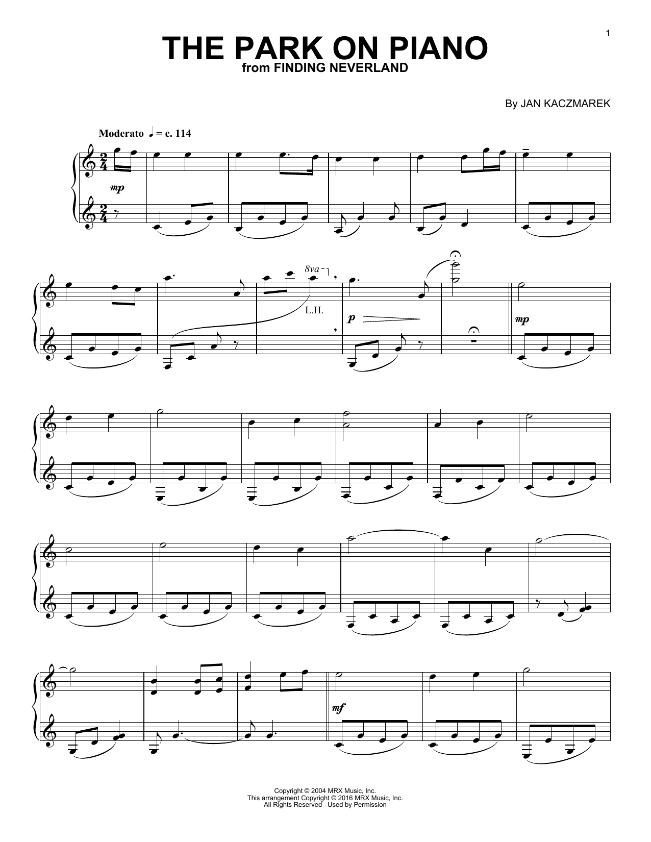 Download Jan A.P. Kaczmarek 'The Park On Piano' Digital Sheet Music Notes & Chords and start playing in minutes