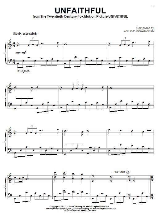Download Jan A.P. Kaczmarek 'Unfaithful' Digital Sheet Music Notes & Chords and start playing in minutes