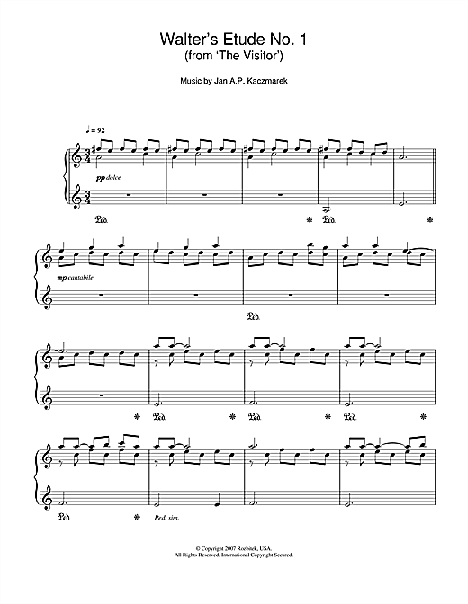 Download Jan A.P. Kaczmarek 'Walter's Etude No. 1 (from 'The Visitor')' Digital Sheet Music Notes & Chords and start playing in minutes