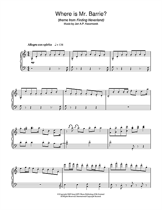 Download Jan A.P. Kaczmarek 'Where Is Mr. Barrie? (theme from Finding Neverland)' Digital Sheet Music Notes & Chords and start playing in minutes