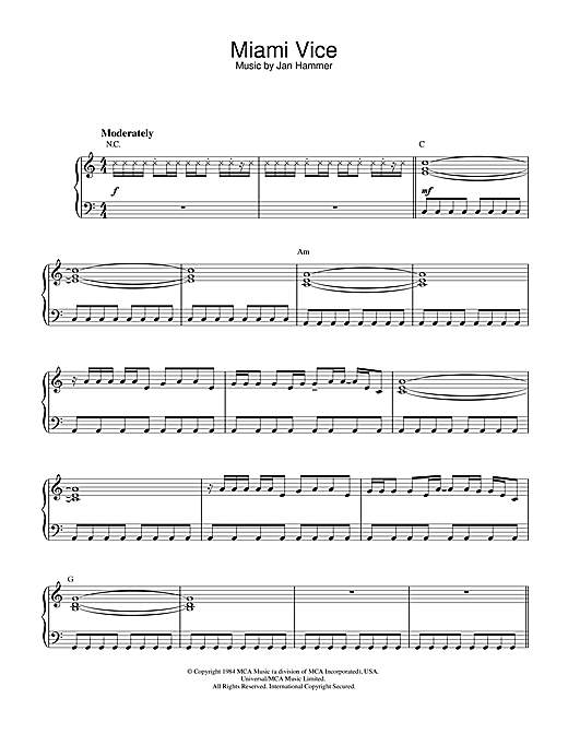Download Jan Hammer 'Theme From Miami Vice' Digital Sheet Music Notes & Chords and start playing in minutes