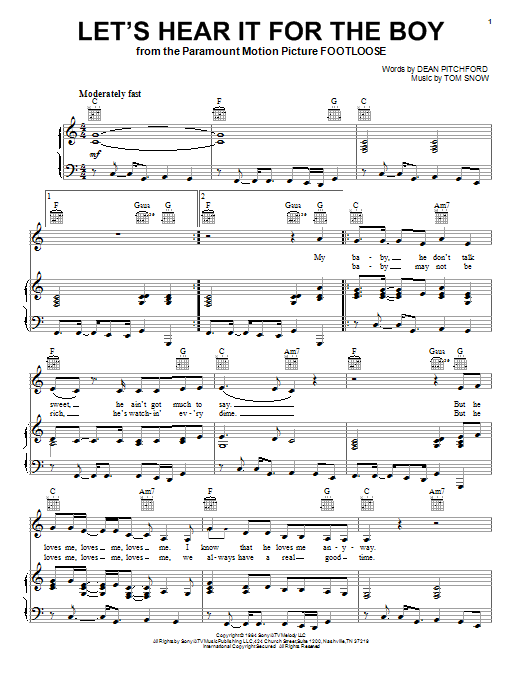 Jana Kramer Let's Hear It For The Boy sheet music preview music notes and score for Piano, Vocal & Guitar (Right-Hand Melody) including 5 page(s)