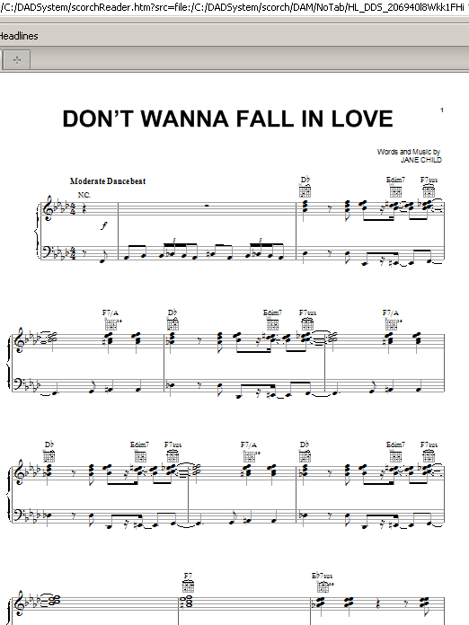 Jane Child Don't Wanna Fall In Love sheet music preview music notes and score for Piano, Vocal & Guitar (Right-Hand Melody) including 7 page(s)