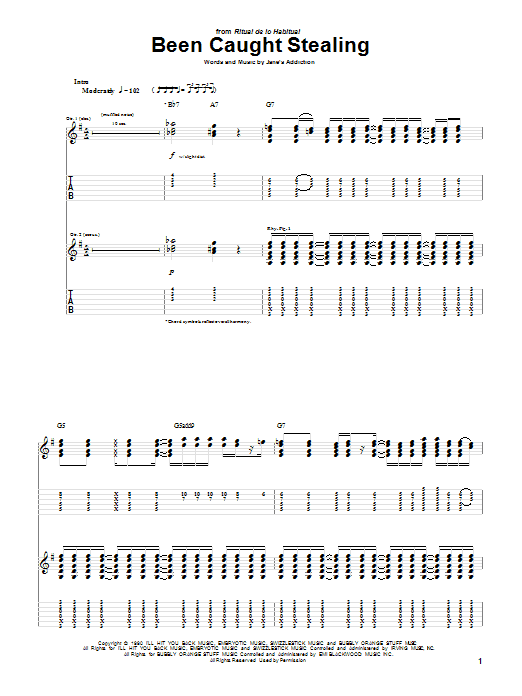 Jane's Addiction Been Caught Stealing sheet music preview music notes and score for Guitar Tab including 9 page(s)