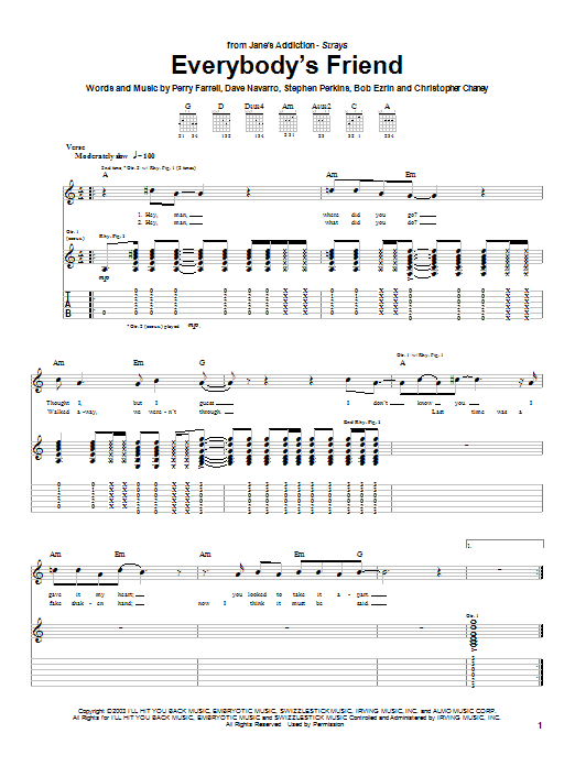Jane's Addiction Everybody's Friend sheet music preview music notes and score for Guitar Tab including 6 page(s)