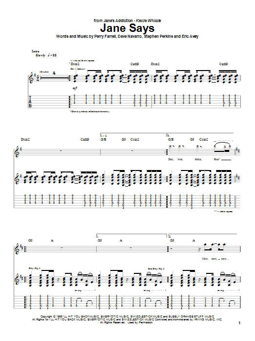 Jane's Addiction Jane Says sheet music preview music notes and score for Guitar Tab including 4 page(s)