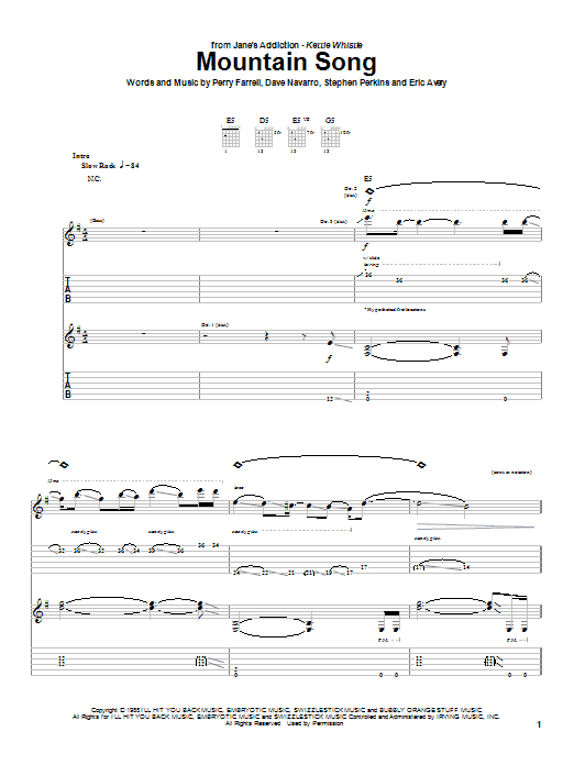 Jane's Addiction Mountain Song sheet music preview music notes and score for Guitar Tab including 5 page(s)