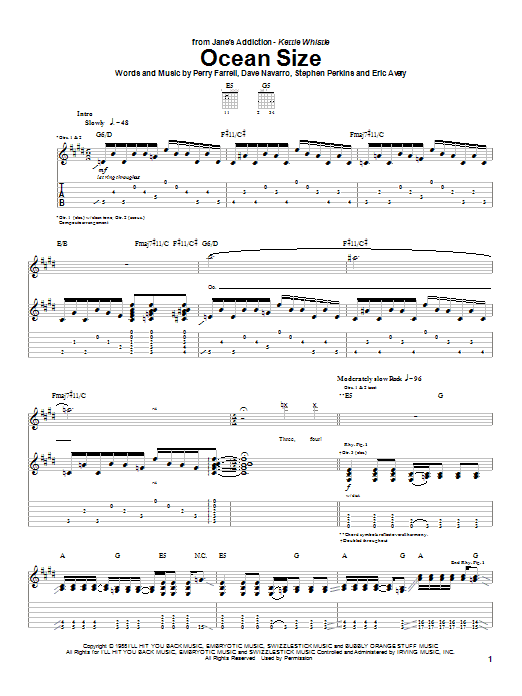 Jane's Addiction Ocean Size sheet music preview music notes and score for Guitar Tab including 8 page(s)