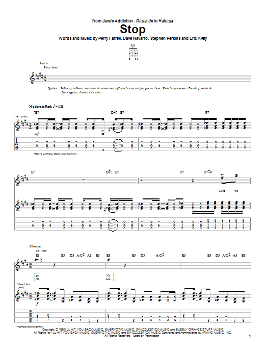 Jane's Addiction Stop sheet music preview music notes and score for Guitar Tab including 11 page(s)
