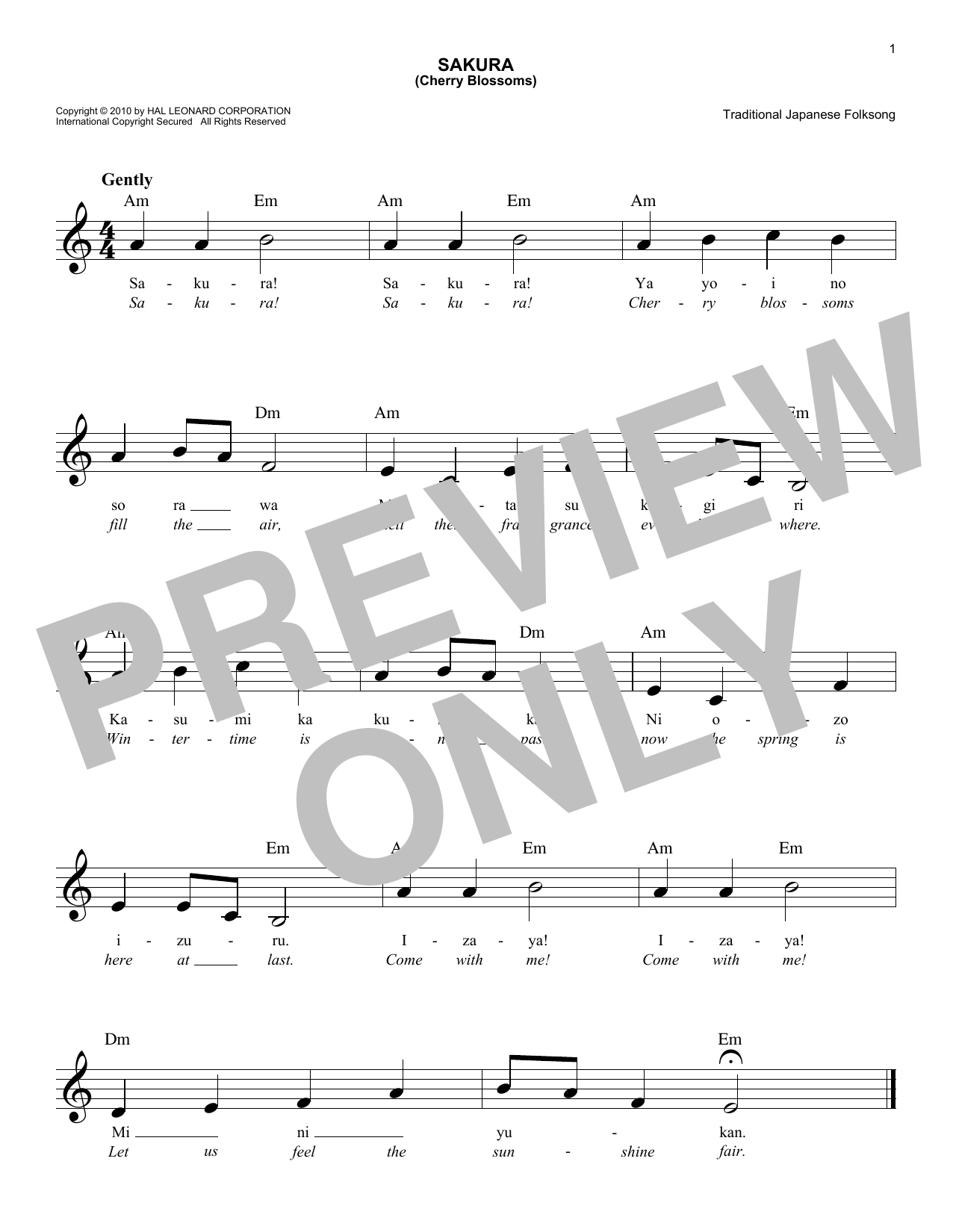 Japanese Folksong Sakura (Cherry Blossoms) sheet music preview music notes and score for Piano including 2 page(s)