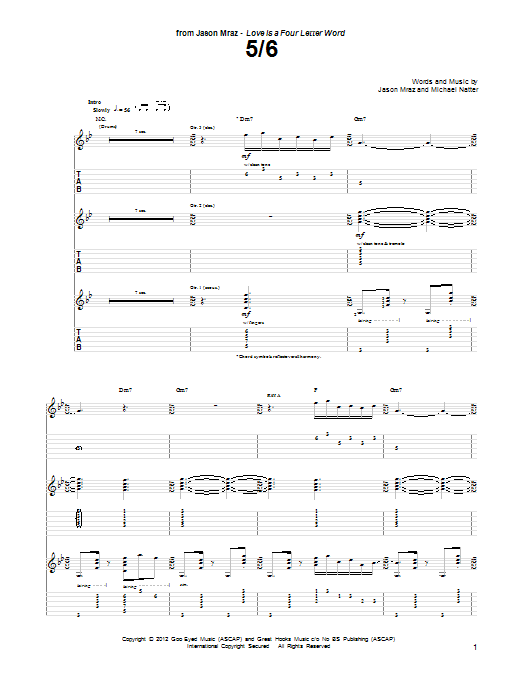 Jason Mraz 5/6 sheet music preview music notes and score for Guitar Tab including 16 page(s)