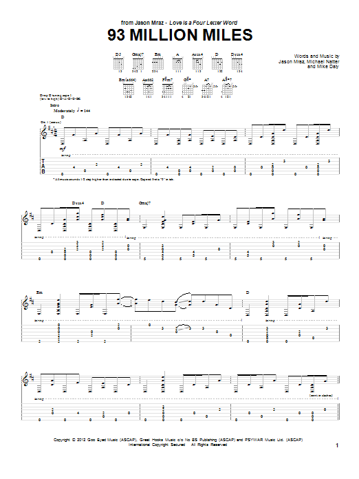 Jason Mraz 93 Million Miles sheet music preview music notes and score for Piano, Vocal & Guitar (Right-Hand Melody) including 8 page(s)