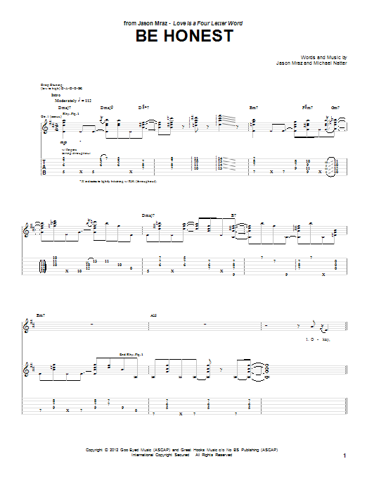 Jason Mraz Be Honest sheet music preview music notes and score for Guitar Tab including 6 page(s)