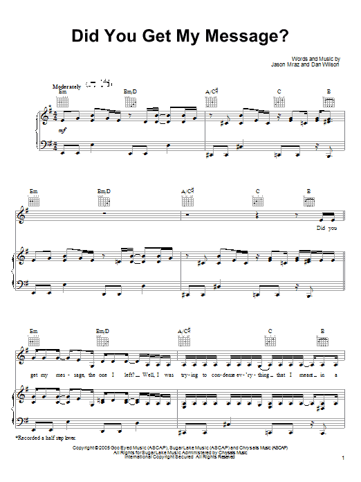 Jason Mraz Did You Get My Message? sheet music preview music notes and score for Piano, Vocal & Guitar (Right-Hand Melody) including 7 page(s)