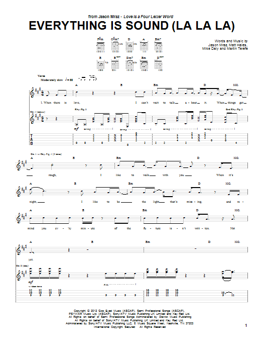 Jason Mraz Everything Is Sound (La La La) sheet music preview music notes and score for Piano, Vocal & Guitar (Right-Hand Melody) including 11 page(s)
