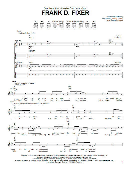 Jason Mraz Frank D Fixer sheet music preview music notes and score for Guitar Tab including 6 page(s)