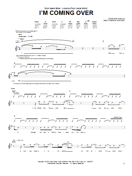 Jason Mraz I'm Coming Over sheet music preview music notes and score for Piano, Vocal & Guitar (Right-Hand Melody) including 9 page(s)