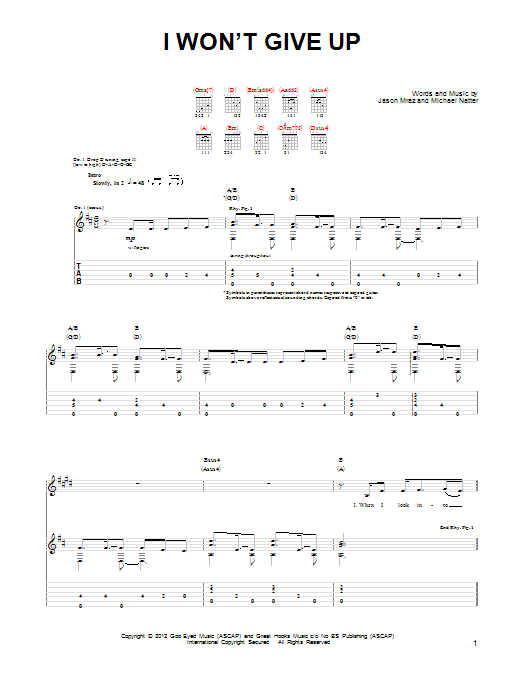 Jason Mraz I Won't Give Up sheet music preview music notes and score for Piano, Vocal & Guitar (Right-Hand Melody) including 8 page(s)