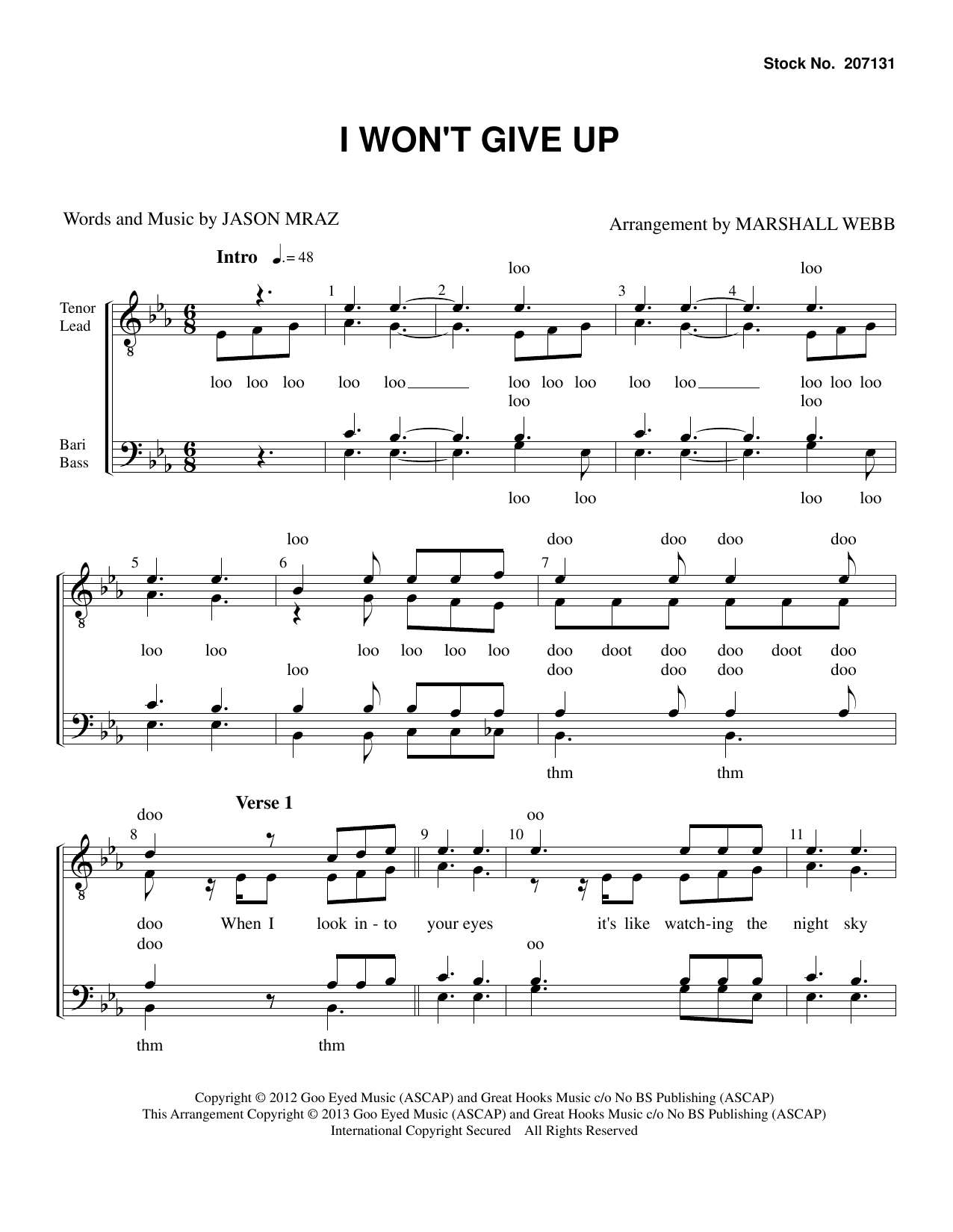 Jason Mraz I Won't Give Up (arr. Marshall Webb) sheet music preview music notes and score for TTBB Choir including 10 page(s)