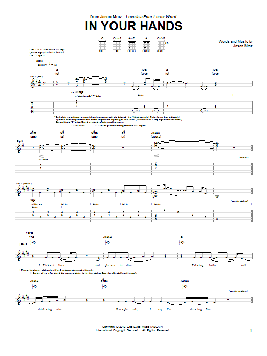 Jason Mraz In Your Hands sheet music preview music notes and score for Guitar Tab including 14 page(s)