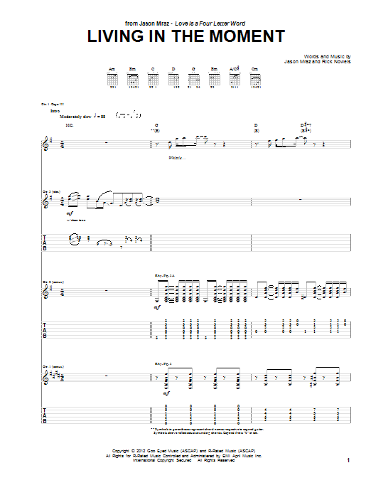 Jason Mraz Living In The Moment sheet music preview music notes and score for Piano, Vocal & Guitar (Right-Hand Melody) including 8 page(s)