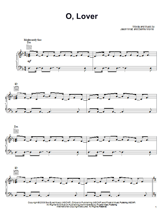 Jason Mraz O, Lover sheet music preview music notes and score for Piano, Vocal & Guitar (Right-Hand Melody) including 11 page(s)