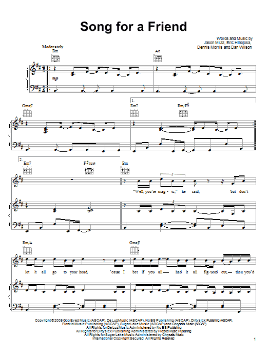 Jason Mraz Song For A Friend sheet music preview music notes and score for Piano, Vocal & Guitar (Right-Hand Melody) including 12 page(s)