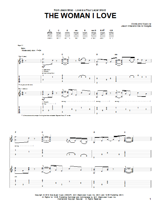 Jason Mraz The Woman I Love sheet music preview music notes and score for Piano, Vocal & Guitar (Right-Hand Melody) including 7 page(s)