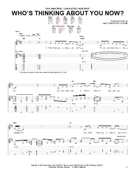 Jason Mraz Who's Thinking About You Now? sheet music preview music notes and score for Piano, Vocal & Guitar (Right-Hand Melody) including 9 page(s)