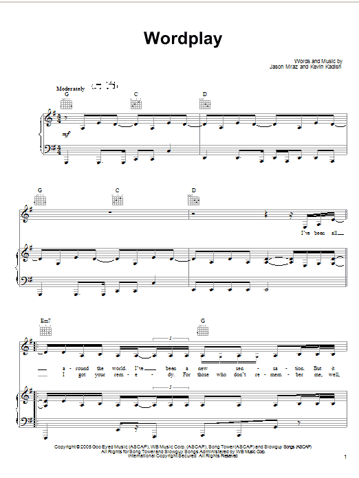 Jason Mraz Wordplay sheet music preview music notes and score for Piano, Vocal & Guitar (Right-Hand Melody) including 7 page(s)