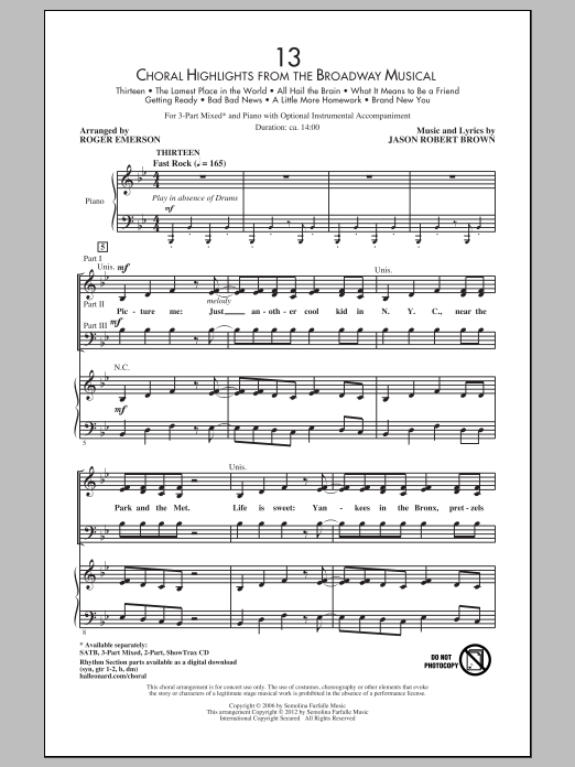 Jason Robert Brown 13 (Choral Highlights From The Broadway Musical) (arr. Roger Emerson) sheet music preview music notes and score for 3-Part Mixed including 52 page(s)